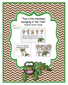 """Five+Little+Monkeys+Swinging+in+the+Tree""+Pocket+Chart+Cards+from+Preschool+Printables+on+TeachersNotebook.com+-++(10+pages)++-+Additional+cards+for+Pocket+Chart-+Please+check+out+the+1st+printable"