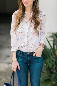 floral print button up shirt with jeans