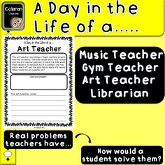 This PDF includes 12 pages of problem that Music Teachers, Gym Teachers, Art Teachers and Librarians go through. The fun part is the kid has to decide how to solve the problem  https://www.teacherspayteachers.com/Product/A-Day-in-the-Life-of-A-ProblemSolution-Writing-Activity-3073671