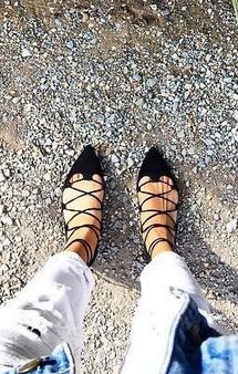 strappy lace-up flats.