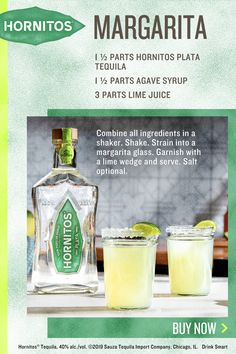 Hornitos Plata Tequila Margarita Combine all ingredients in a shaker. Strain into a margarita glass. Garnish with a lime wedge and serve. Tequila Drinks, Liquor Drinks, Cocktail Drinks, Cocktail Recipes, Alcoholic Drinks, Beverages, Cocktails, Drinks Alcohol Recipes, Drink Recipes