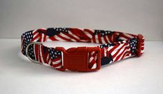 American Flag Dog Collar // Handmade & by PawesomePups on Etsy
