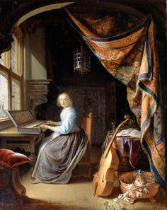 Gerrit Dou: A Woman playing a Clavichord