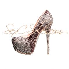 nude brown Rhinestone Encrusted Platform Pumps $79.99 use code SexC10 for 10% off entire site