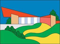 Move into Lil Kool's nostalgic and psychedelic suburban neighbourhood Autumn Illustration, Landscape Illustration, Funky Art, Retro Art, Lowbrow Art, Photoshop, Graphic Design Art, Art Sketchbook, Lettering Design