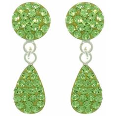 @Overstock - Each of these fine .925 sterling silver earrings features a round shape encrusted with green Austrian crystals, with a similarly-adorned teardrop shape dangling below. These earrings are finished with a high polish and butterfly clasps.http://www.overstock.com/Jewelry-Watches/Sterling-Silver-Green-Austrian-Crystal-Teardrop-Earrings/6807450/product.html?CID=214117 $32.49