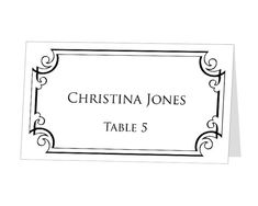 Instant Download  Avery Place Card Template  Damask Design On