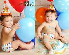 Cake smash @Meredith Mooney I am def going to need to bring balloons to Anthony Photo shoot