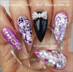 Luminous Nails and Beauty - Gold Coast - Queensland - Acrylic Nails - Gel Nails - Acrylic & Gel Nail Art Design Gallery - Acrylic & Gel Nail Design Photos - Nail Art Images Pink Black Nails, Black Acrylic Nails, Acrylic Gel, Pointy Nails, Glitter Nails, Fabulous Nails, Gorgeous Nails, Luminous Nails, Uñas Fashion