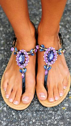 2017 Comfort Sandals Women Summer Fashion Purple Rhinestone Women's shoes Flat Heel Flip-flop Plus size 43 zapatos mujer Cute Sandals, Cute Shoes, Me Too Shoes, Purple Sandals, Summer Sandals, Pretty Sandals, Bling Sandals, Sparkly Sandals, Summer Shoes