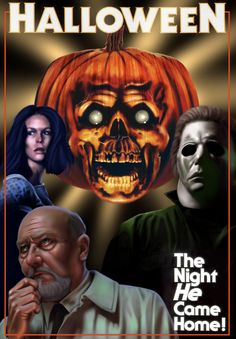Digital Painted Movie Poster - Halloween. The font is not digitally painted.