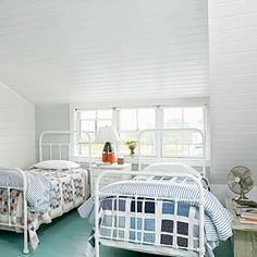 Coastal Kids' Rooms | Design to Grow With | CoastalLiving.com!!! Bebe'!!! Really attractive vintage iron beds painted white really are perfect for a coastal cottage or beach house!!!