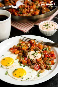 Use GF taco seasoning mix! Beef and Sweet Potato Hash - www.afarmgirlsdabbles.com