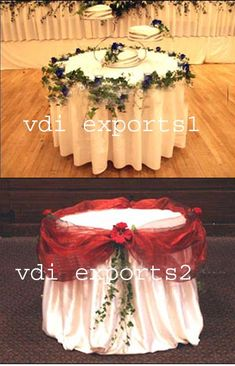 I like the idea of using tulle around the edges of the tables for the buffet, dessert, card, etc