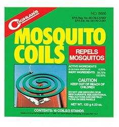 Coghlans Mosquito Coils. Set up by the camp fire and sitting areas.
