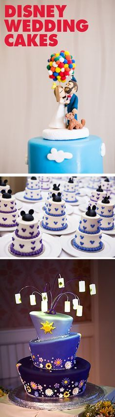 We are obsessed with these Disney wedding cakes. From UP inspired cake toppers, to mini Mickey cakes, and even a Tangled lantern cake we just can't get enough. They're almost too beautiful to eat!