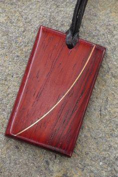African Padauk pendant with copper inlay by TheBlacKatStudio, $40.00