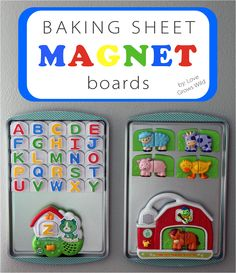 Baking Sheet Magnet Boards from Love Grows Wild. Great for the car! Buy baking sheets at dollar store.