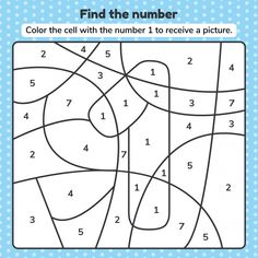 Preschool Number Worksheets, Preschool Games, Learning Numbers, Worksheets For Kids, Preschool Kindergarten, Cool Coloring Pages, Coloring Pages For Kids, Coloring Books, Kids Coloring
