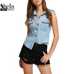 #aliexpress, #fashion, #outfit, #apparel, #shoes SheIn, #Woman, #Summer, #Blouses, #Tops, #Ladies, #Fashion, #Shirt, #Light, #Blue, #Lapel, #Sleeveless, #With, #Buttons, #Scratch, #Denim, #Top http://s.click.aliexpress.com/e/qjEeEeUR3
