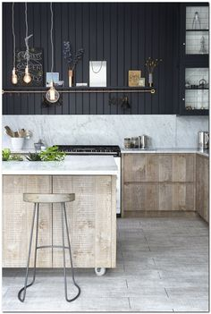 Marble kitchens look beautiful, whether you add marble tiles, a marble worktop or a marble floor. This post has kitchen design ideas to inspire you. Marble Tiles, Marble Floor, White Tiles, Apartment Therapy, Houseboat Living, Tiny House Movement, Luxury Kitchens, Rustic Industrial, Rustic Design