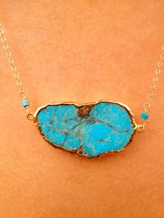 Ava Aqua Turquoise Necklace Dipped in 24kt Gold by luxdivine, $85.00