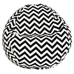 """Indoor/outdoor beanbag chair in black with a chevron motif and eco-friendly fill. Made in the USA. Product: BeanbagConstruction Material: Outdoor treated polyester cover and recycled polystyrene fillColor: Black and whiteFeatures: Suitable for indoor and outdoor useZippered slipcover Dimensions: 22"""" H x 28"""" DiameterCleaning and Care: Slipcover is machine washable. Tumble dry low."""