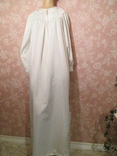 Brushed Back Flannel Satin Vintage Nightgown Long by WeeBitUsed db2d15cfe