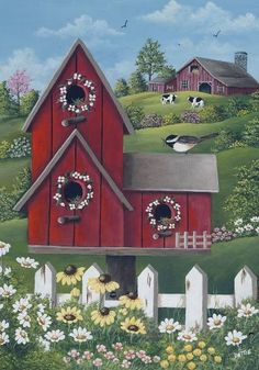 awesome Garden Flags and House Flags for your home decorating fun Tole Painting, Painting Frames, Diy Painting, Image Foto, Mini Flags, Small Flags, Pintura Country, Country Paintings, House Flags