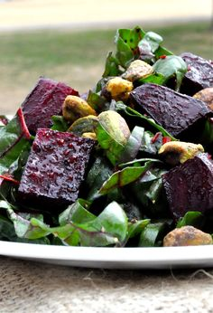 Roasted Beet and Swiss Chard Salad. It's all about the pistachios and orange-juice balsamic.