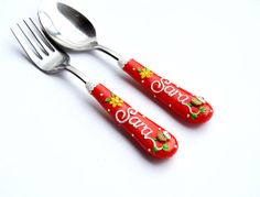Red Girl Cutlery Set Children Spoon Fork with Name Cupcake and White lace Yellow flowers Toddler Unique Present Polymer clay Silverware Set