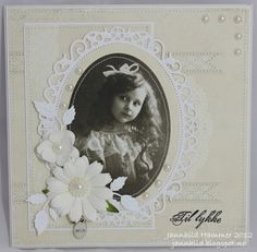 handmade card from♥ ♥ Jannhild's papirhobby ♥ ♥ ... white on white with a framed black and white photo ... lovely ...