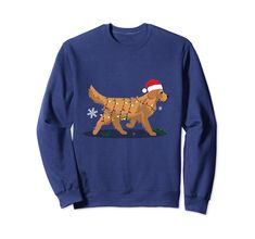 Cute Christmas Lights Golden Retriever Dog Hoodies Shirt Dog Sweatshirt Xmas Noel Shirt