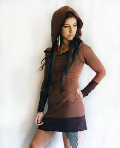 brown hooded tunic sweatshirt dress handmade eco bamboo.