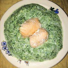Somon cu sos de spanac si smantana - Flaveur Palak Paneer, Baby Food Recipes, Grains, Dairy, Rice, Lunch, Dinner, Ethnic Recipes, Recipes For Baby Food
