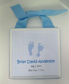 Boy Birth Announcement Keepsake Plaque by RibbonMade on Etsy, $15.00