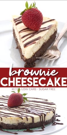 Low Carb Brownie Cheesecake – Keto Friendly Perhaps one of my most popular recipes ever, this dreamy cheesecake combines two delicious sugar-free desserts in one! A layer of rich chocolate brownies with a filling of creamy keto cheesecake. Cheesecake Brownies, Brownies Cétoniques, Low Carb Cheesecake Recipe, Chocolate Brownies, Cheesecake Desserts, Diabetic Cheesecake, Skinny Cheesecake, Cheesecake Frosting, Sugar Free Brownies
