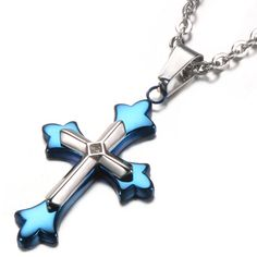 """Unistyle Stainless Steel Jewelry Vintage Blue Cross Pendant Necklace with 22"""" Chain http://www.amazon.com/dp/B00ZHR696A"""