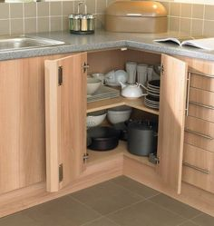 corner kitchen cabinet storage ideas for pots and pans