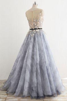 7b9e2eab08 Gray round neck tulle long prom dress