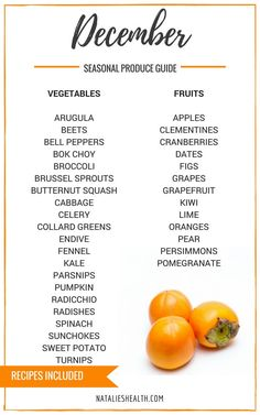 """Produce Guide """"Whats in Season DECEMBER"""" is a collection of best HEALTHY recipes featuring seasonal fruits and veggies for the month December. #seasonal #winter #fall #fruit #vegetables #guide #healthy #produce #food #december #recipes 