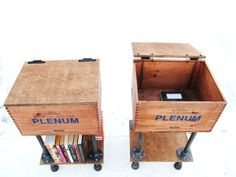 Easy storage: add some pipe to wooden crates and hinges for a top.
