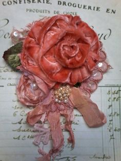 velvet rose shabby brooch corsage hair by susanjanescreations Brooch Corsage, Wrist Corsage, Tulle Flowers, Flower Dresses, Shabby Look, Romantic Look, Textile Jewelry, Hair Accessory, Unique Vintage