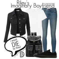 Riley's Imaginary Boyfriend by leslieakay on Polyvore featuring Yves Saint Laurent, LE3NO, Frame Denim, Converse, disney, disneybound,…