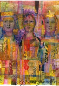 """Virgin, Mother, and Crone"" - The Creative Cosmic Triplicity: ""Urge to Be/She Who Will Be"", ""Place of Being/She Who Is"", and ""She Who Creates the Space to Be/She Who Returns All"" - From Restoring Her as Creative Triplicity: Place of Being by Glenys Livingstone Ph.D. Art: Lynne Perrella"