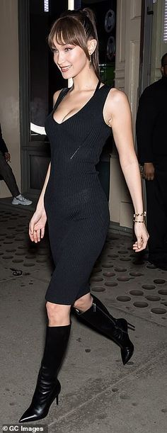 43ee281e9de8 Bella Hadid flaunts cleavage in low cut dress at Michael Kors event