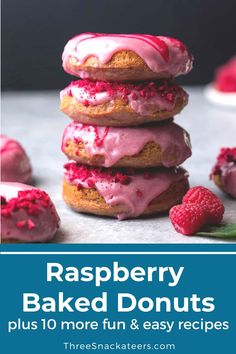 From classic flavors like chocolate and cinnamon sugar donuts to fun flavors like red velvet or maple blueberry donuts, you're sure to find something you and your family will love. Easy Donut Recipe, Baked Donut Recipes, Easy Baking Recipes, Fun Easy Recipes, Baked Donuts, Easy Snacks, Yummy Snacks, Sweet Recipes, Delicious Desserts