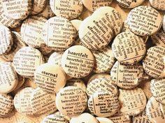 Handmade Wedding Favors - 100 1 Inch Pinback Buttons - Words Enough For A Lifetime Together via Etsy