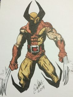 Comic style drawing of the original Wolverine character from Marvel. Wolverine is a registered trademark of Marvel comics. This 8x10 is signed by the artist Edward Settles. The dark, hidden face is a