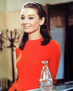 Audrey Hepburn Color In Red Top Photo Or Poster